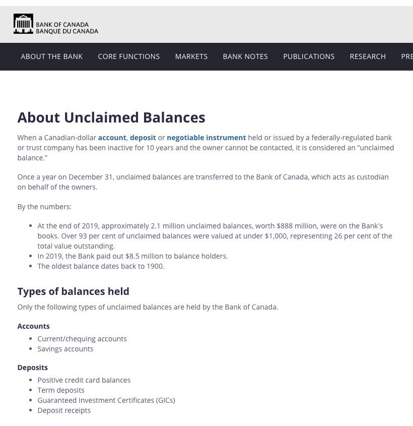Bank of Canada unclaimed balances