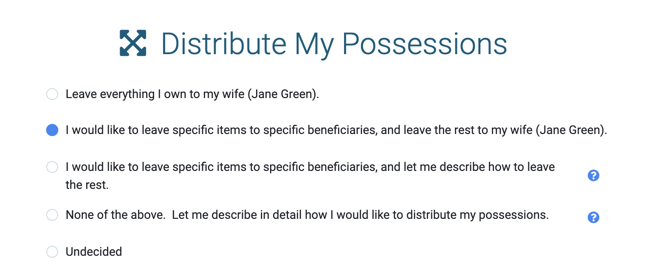 Distribution plan in a Will